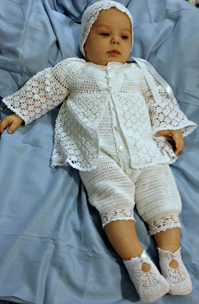 Baby Boy Christening Outfit with Lace Jacket, Rompers, Bonnet, and Booties