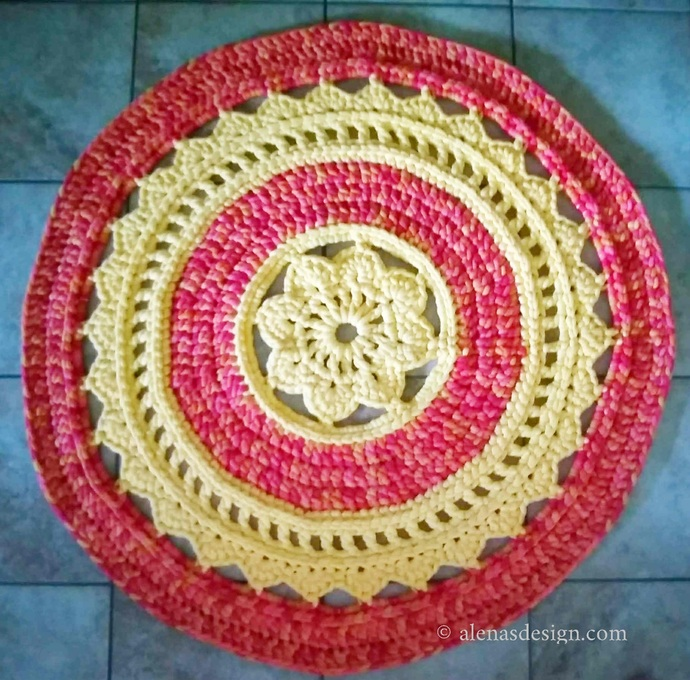 Crochet Rug Pattern 240 Crochet Doily Rug Round Floral Rug Crochet Baby Rug Play