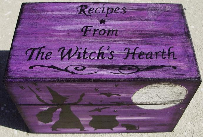 Primitive witch Recipe Box Witches Witch Witchcraft Halloween Folk Art Black
