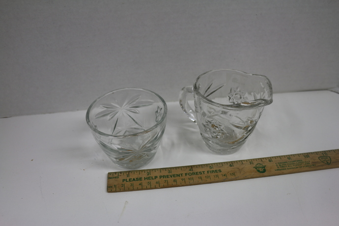 Vintage cut glass creamer and sugar in the Brilliant Pattern.