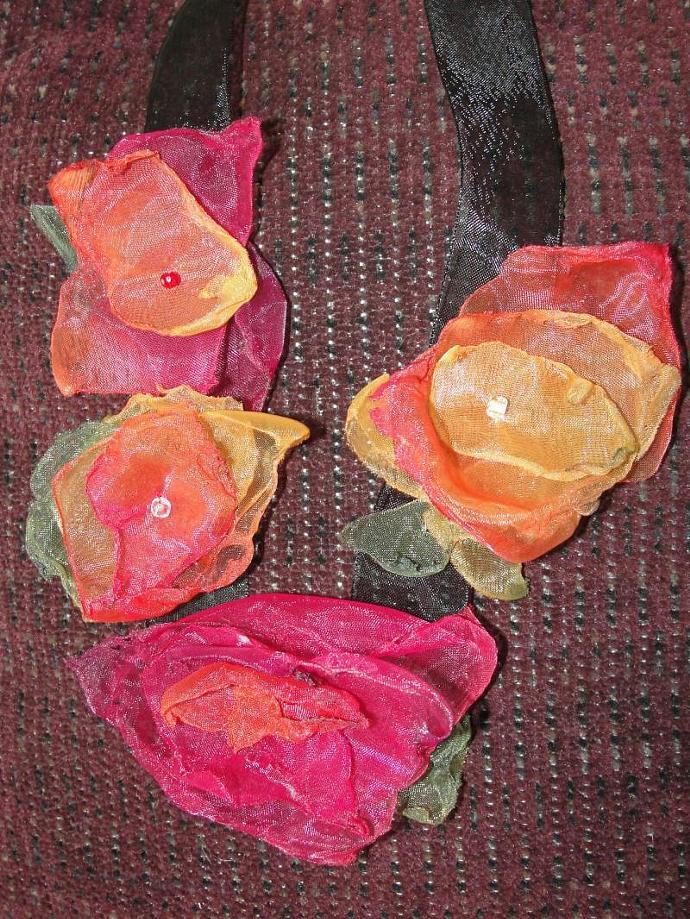 Multi Color Organza Flower Necklace