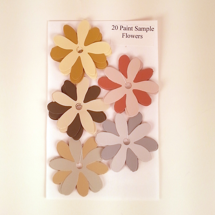 Paint Sample Flowers Gray Red Brown Recycled