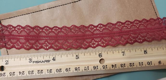 Burgundy lace trim 1 yd