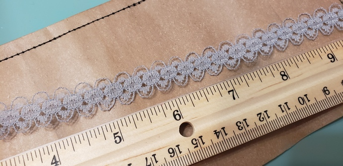 Thin gray lace trim 1 yd