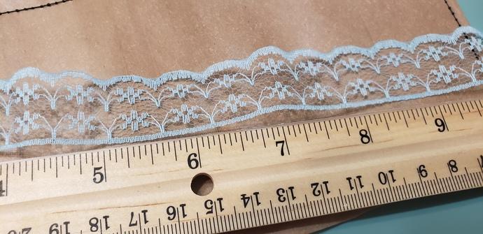 Thin blue lace trim 1 yd