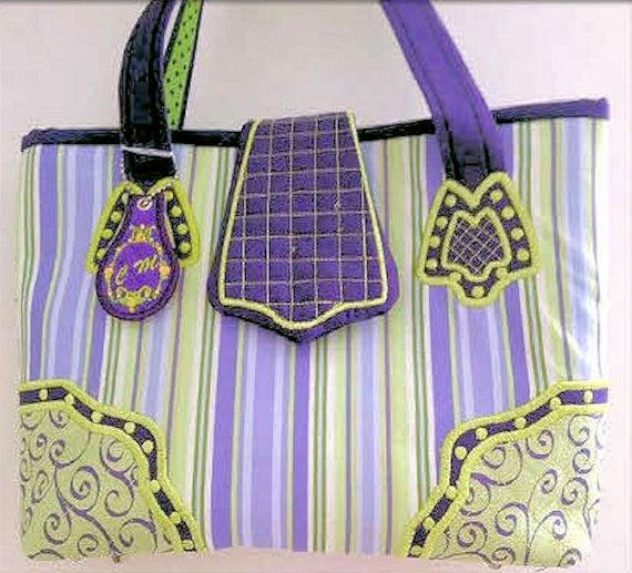 Ladies Handbag, Purple- Green Tote, Purse, Shoulder Bag, Bags and Purses, Ready