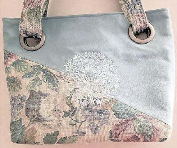 Blue Tote, Blue Handbag, Floral tapestry Bag, Grommet Bag, Purse, Shoulder