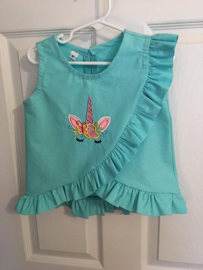 Frilly Unicorn Blouse or Dress, Custom Made