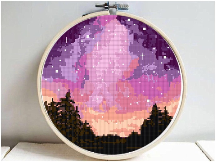 Forest sunset Modern Cross Stitch Pattern, starry night, watercolor, nature easy