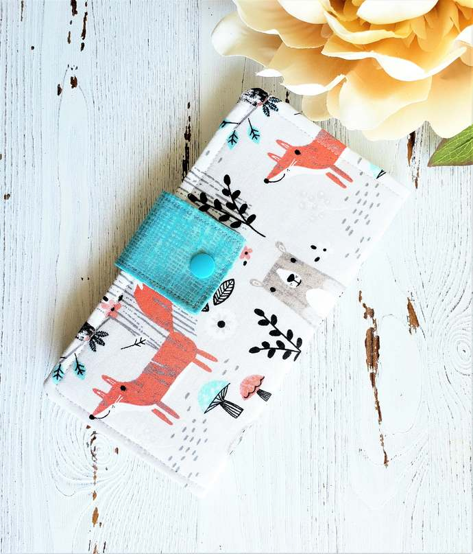 Woodland critters bifold Womens wallet, handmade fabric clutch style wallet with