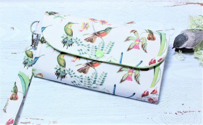 Hummingbirds Woman's Clutch Wallet in cotton fabric, Ladies handmade Accordion