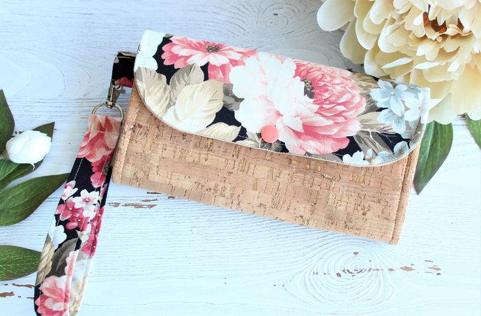 Women's Wallet Wristlet in Taupe Pink Rose floral Cork, Ladies Clutch wallet,