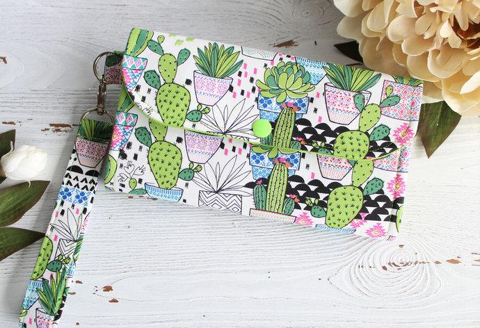 Cactus fun Womens wallet in slim accordion style, handmade  fabric clutch wallet