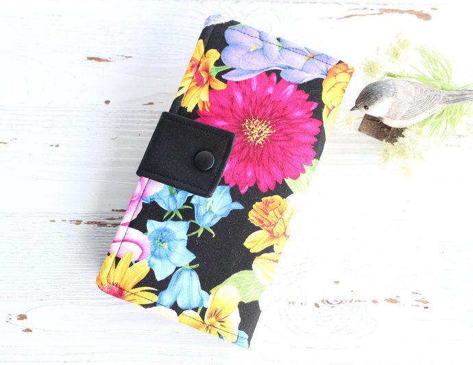 Wallet in Bright Garden flowers, Womens Bifold clutch wallet, ladies slim purse