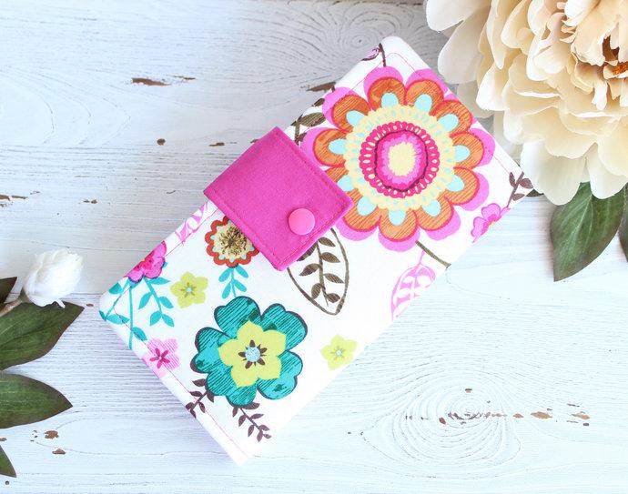 Womens Bright Pink florals wallet, slim bifold wallet, fabric handmade wallet,