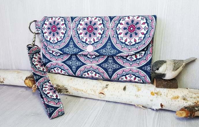 Blue pink circles abstract Women's wallet, Wristlet wallet, Fabric clutch
