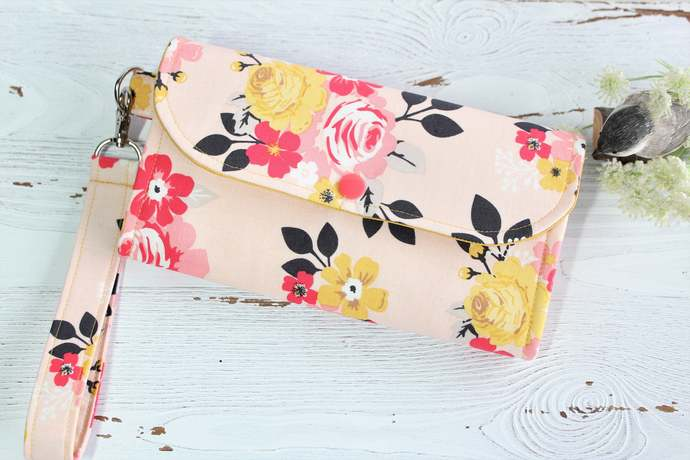 Womens Wallet in Peach Pink floral, Clutch Wristlet handmade fabric wallet,