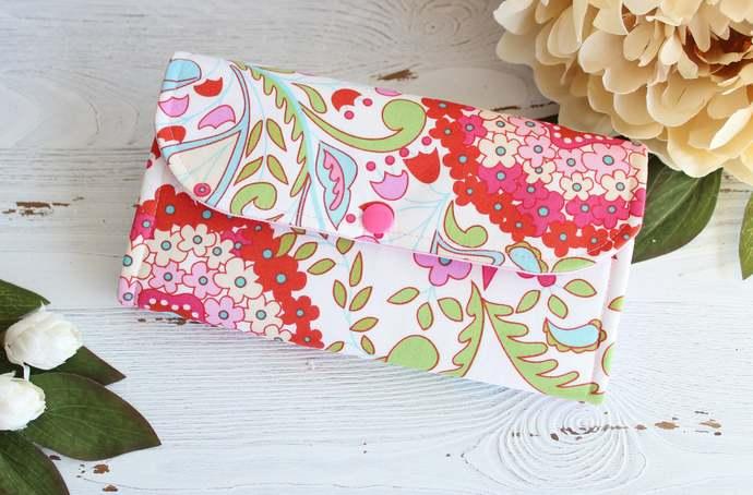 Retro bright floral womans wallet, fabric accordion clutch, ladies handmade
