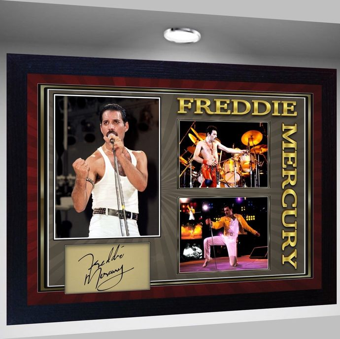 Freddie Mercury Queen signed autograph Music pre-print poster photo Framed #2
