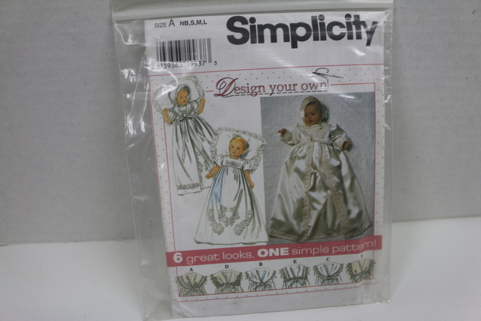 Simplicity Sewing Pattern for Christening gown. 6 great looks, one simple