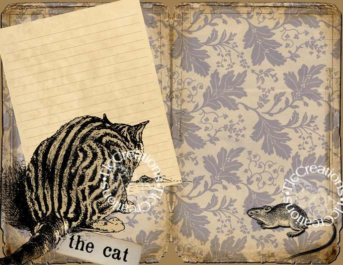 Catitude Vintage Printable Journal Kit Junk Journal Cats