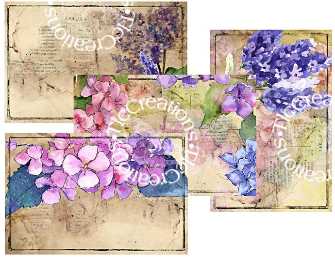 Hydrangeas Lilacs and Lavender Printable Junk Journal Addons