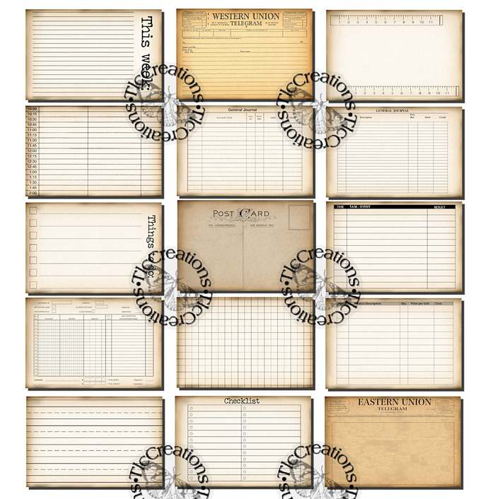 Just the Basics Lined, Receipt, Telegram, Postcard, Journal Cards, Printable