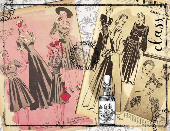 1930s Fashion, Printabe Vintage Junk Journal Papers and Journal Cards