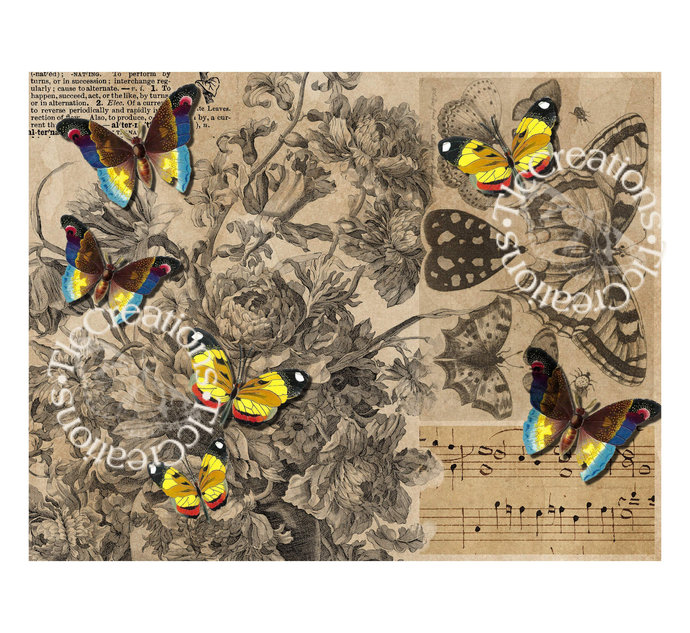 Butterfly View Vintage Printable Journal Paper Scrapbook