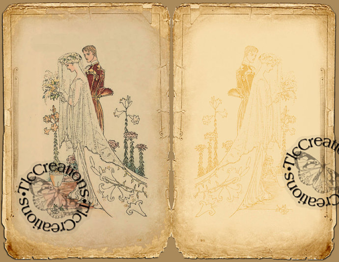 The Wedding, Vintage Printable Journal Kit, Journal Papers, Journal Cards