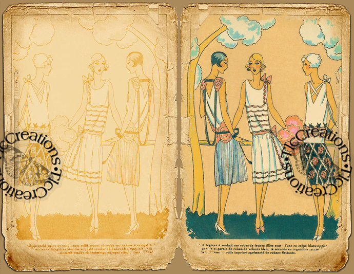 Vintage French Fashion, Printable Junk Journal Kit, Journal Papers, Journal