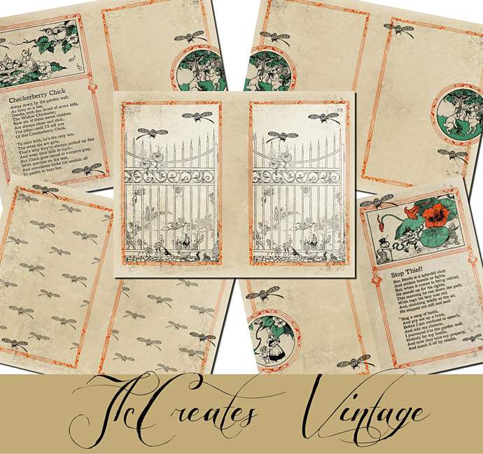 Beyond the Garden Gate,  Printable Vintage Junk Journal Papers and Extras,