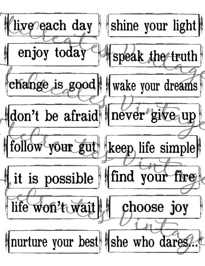 Word Clips for your Journaling or Scrapbook