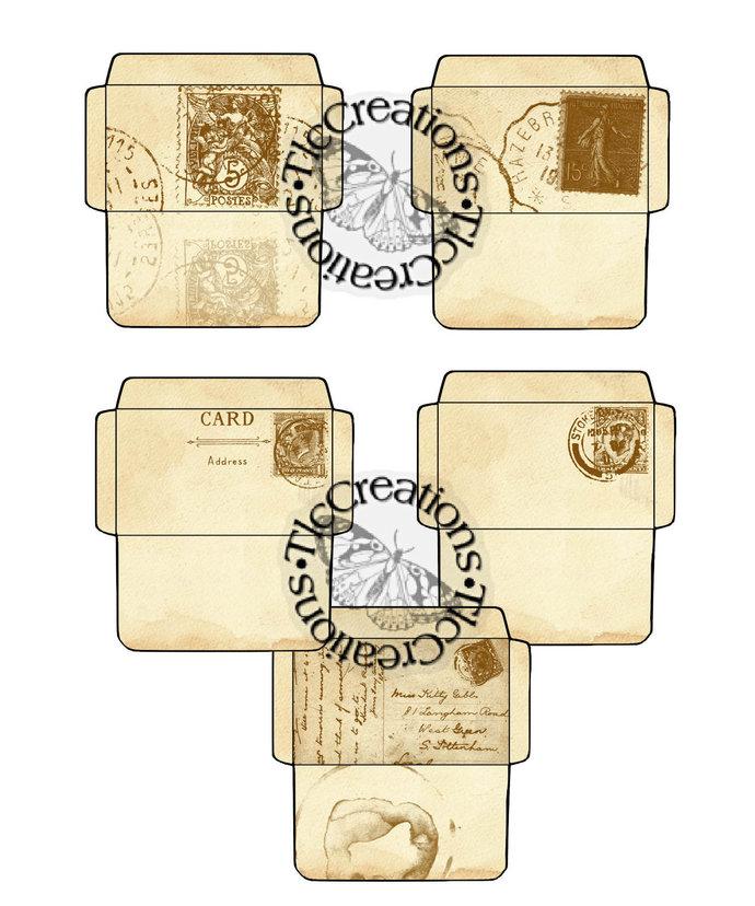 Vintage PostCard Envelopes Junk Journal Scrapbooking