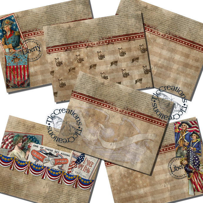 Liberty and Justice for All Vintage Patriotic Printable Papers Junk Journal