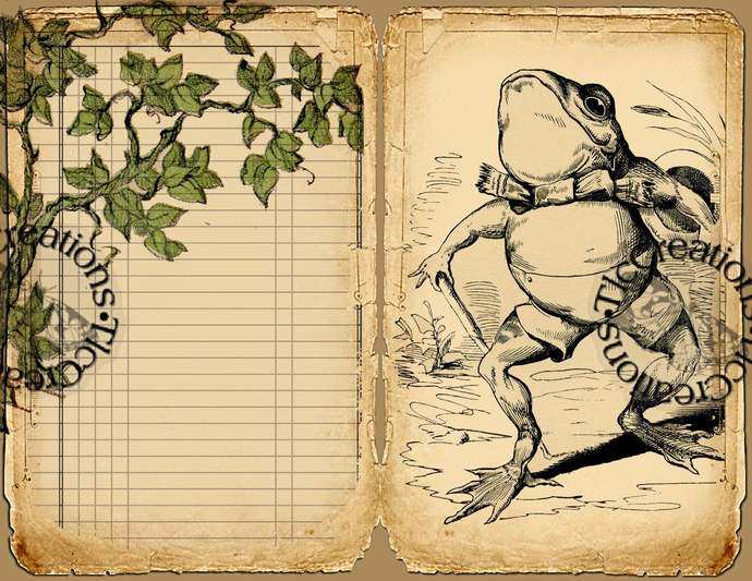 Frog Fun Printable Vintage Junk Journal Papers and Journal Cards, Scrapbook
