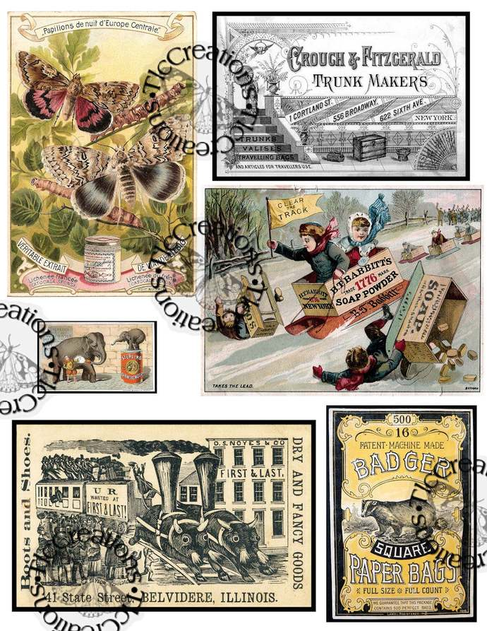 Vintage Printable Ad Ephemera Sheets, Set 2 Junk Journal printables