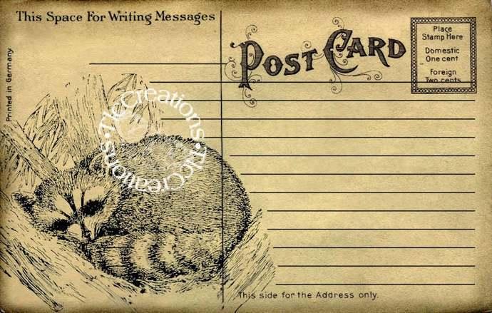 Woodland Animals Vintage Junk Journal Postcard Printables