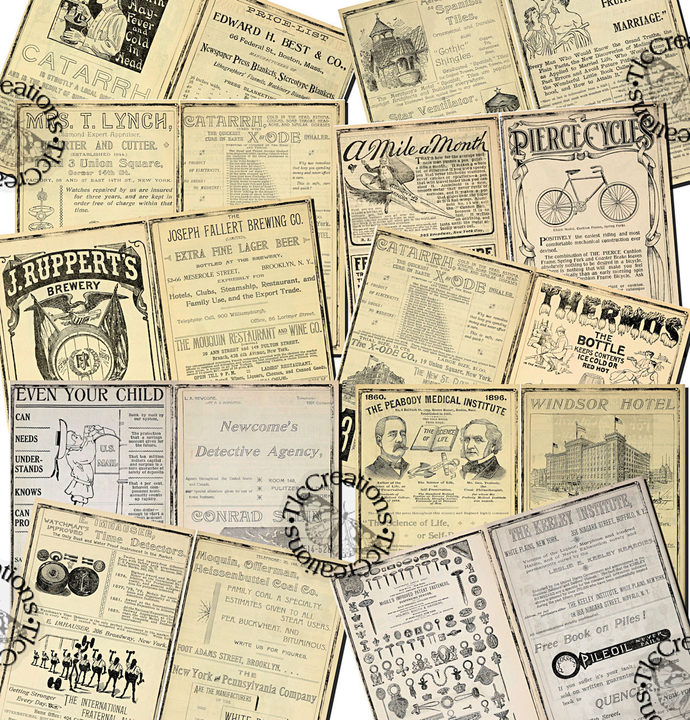Just the Basics Printable 1800s Ad Junk Journal Pages and Journal Cards