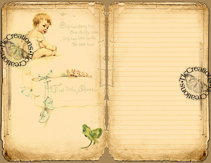 The Baby's Journal, Vintage Printable Journal papers and Journal Cards