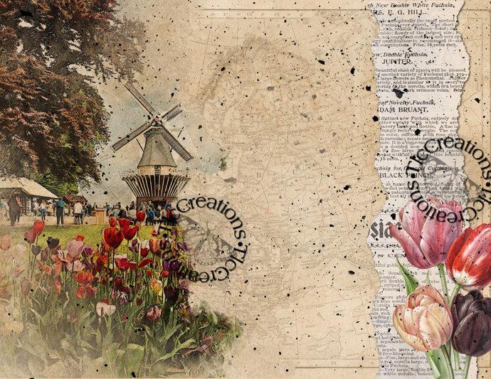Tiptoeing through the Windmills Vintage Printable Junk Journal Kit