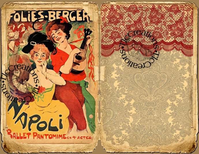 Caberet, Folies Bergere Vintage Printable Junk Journal Kit, Journal Papers ank
