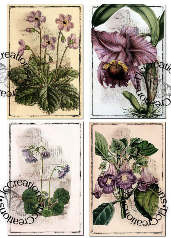 Purple Poseys Vintage Printable Journal Cards, Ephemera, Junk Journal