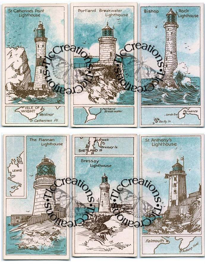 Vintage Lighthouse Printable Journal Pages and Journal Cards, Ephemera Sheet