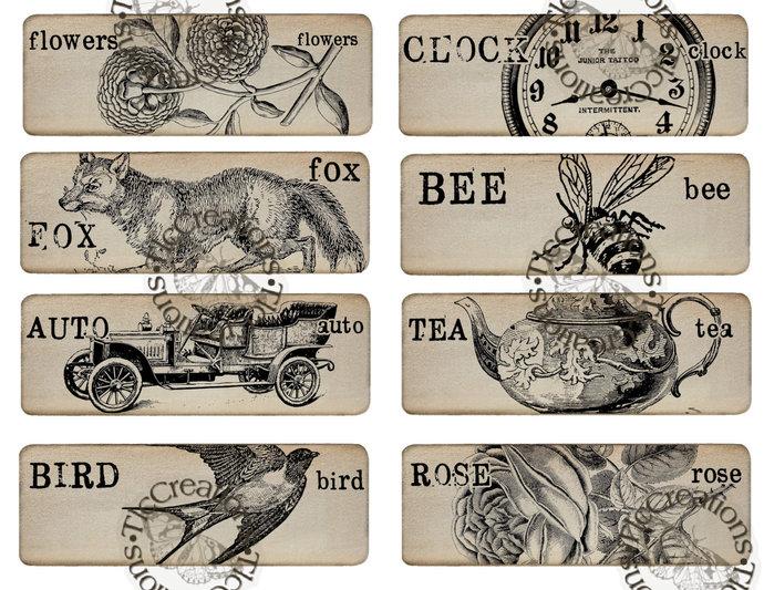 Vintage Tags/Flashcards Printable Junk Journal Ephemera Scrapbook
