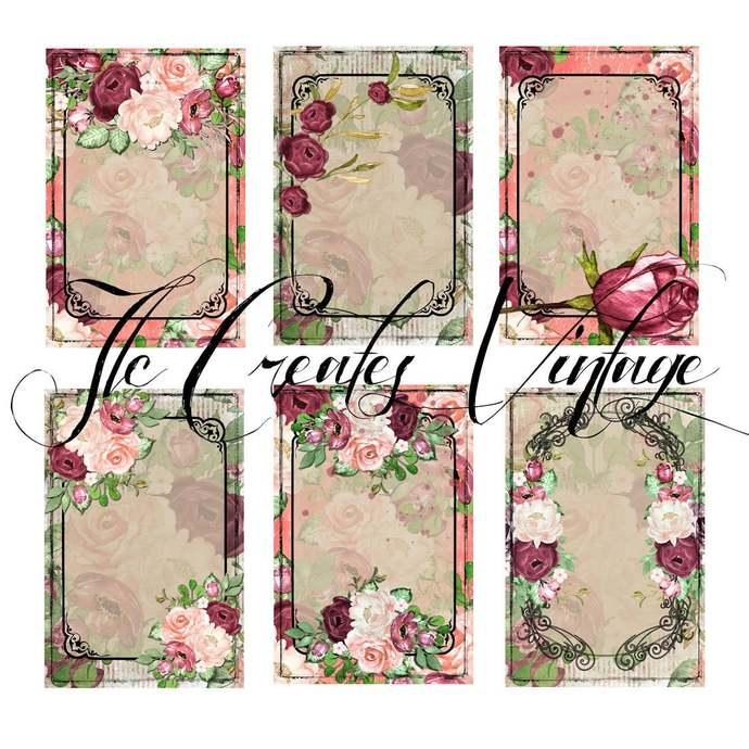 Just the Basics, Vintage Flower Journaling Cards, Printable Journal