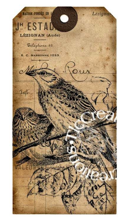 Vintage Nature Tags, For the Birds, Printable, Junk Journals, Gifts