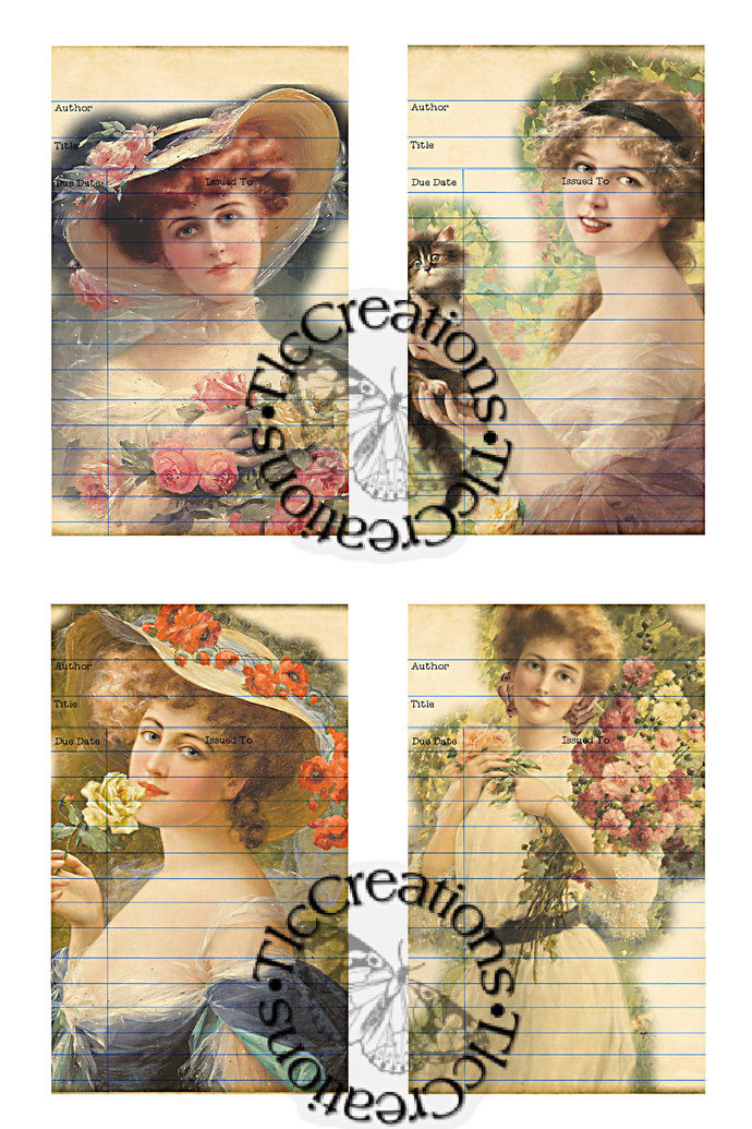 Women of Grace Printble Vintage Library Cards, Junk Journal, Diary