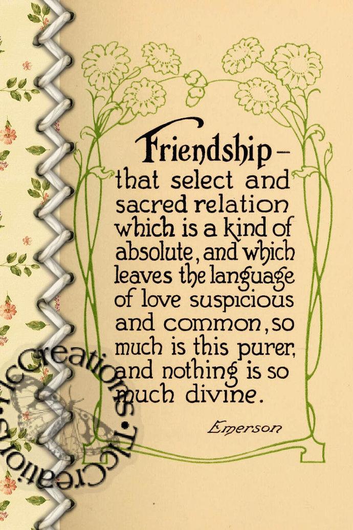 Friendship, Vintage Journaling Cards Junk Journal Scrapbook Diary