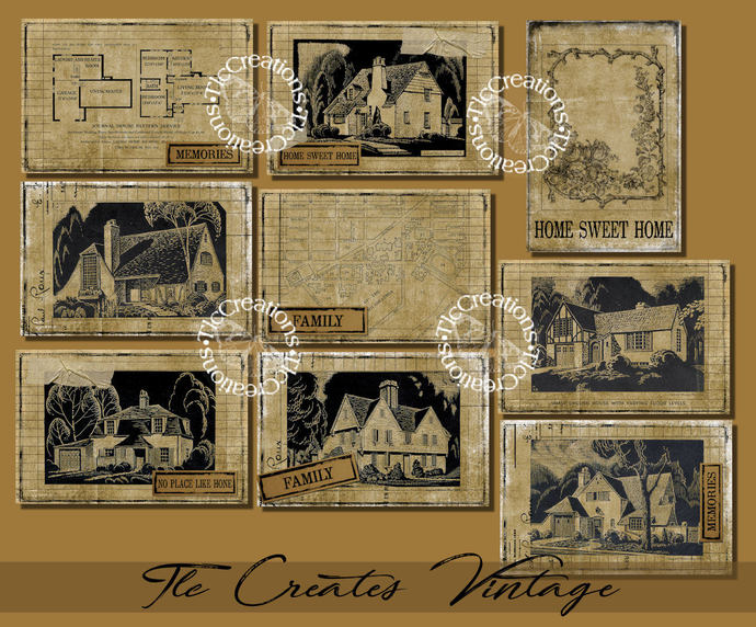 Vintage House Patterns Collage Printable Journal Cards